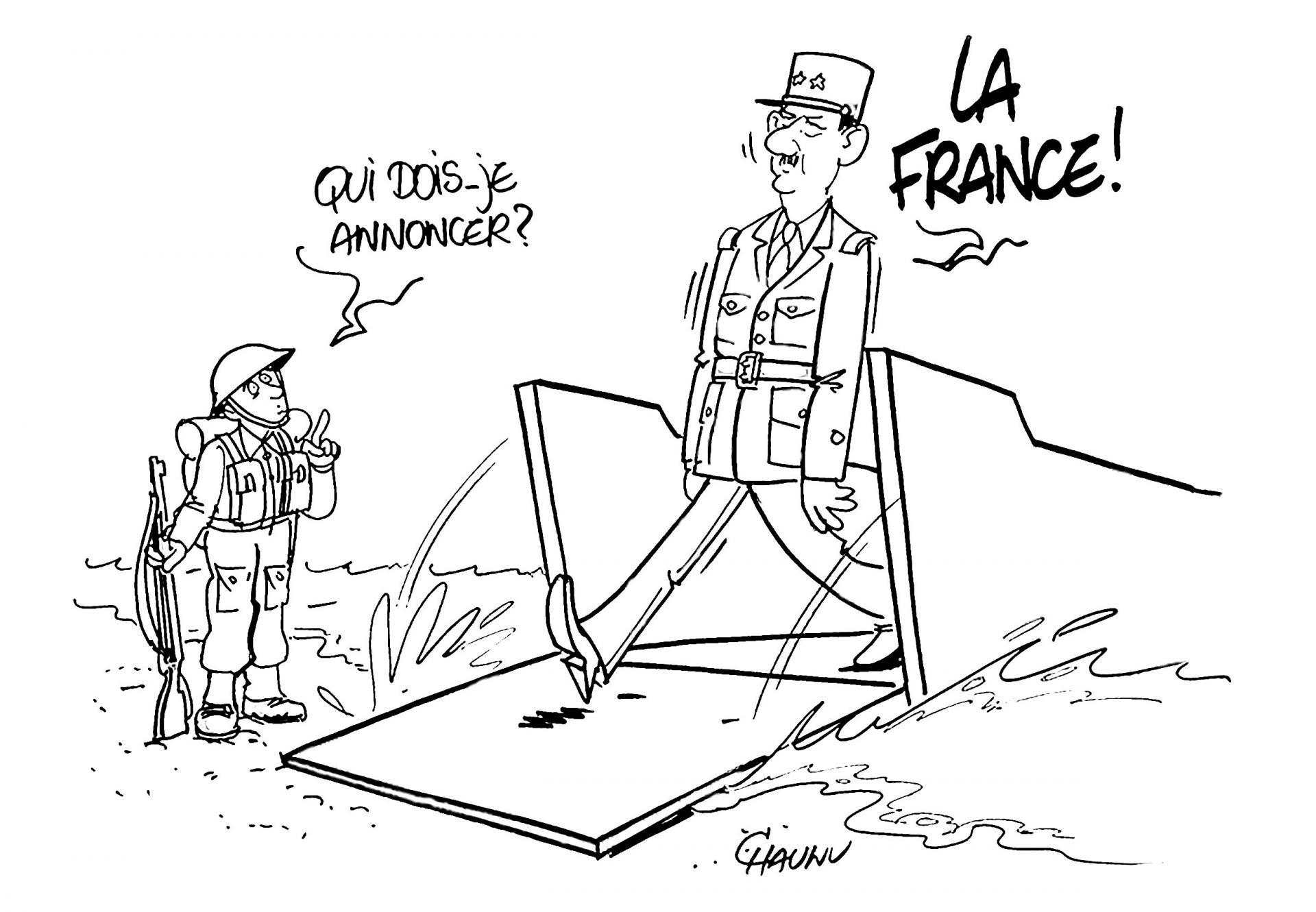 Le Général de Gaulle débarque à Courseulles-sur-Mer.