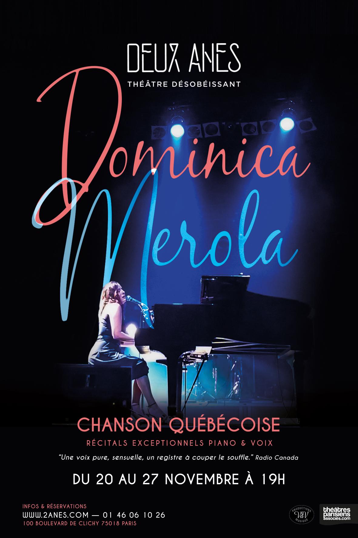 Dominica Merola et la chanson québécoise en novembre à Paris !