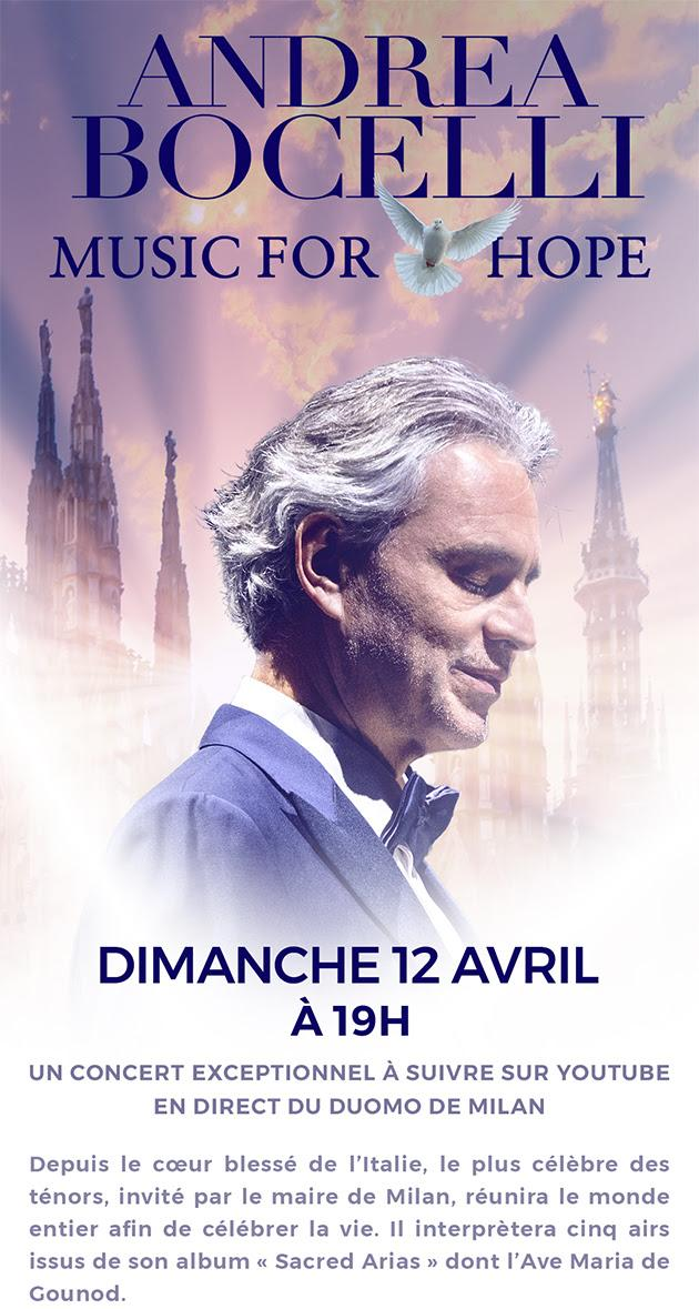 Andrea Bocelli en direct sur YouTube.