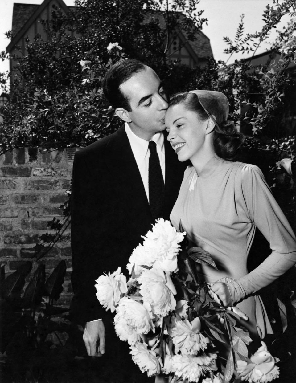 Avec Vincente Minnelli, le jour de leur mariage